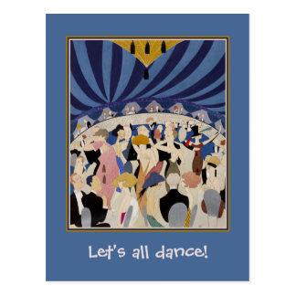 Jazz Age Art Deco Dancing couples dance hall art Postcard