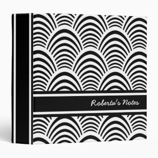 Jazz Age Art Deco Elegance Black and White 3 Ring Binders