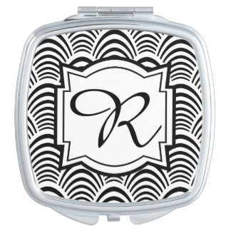 Jazz Age Art Deco Elegance Black and White Makeup Mirror