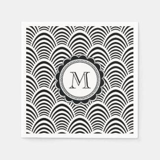Jazz Age Art Deco Elegance Black and White Paper Napkin
