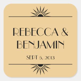 Jazz age dull gold geometric art deco wedding square sticker