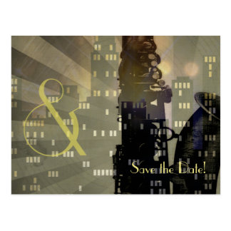 Jazz Age Saxophone City Skyline Wedding Set Postcard