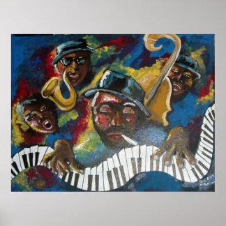 Jazz Bass Trumpet Piano Art Poster