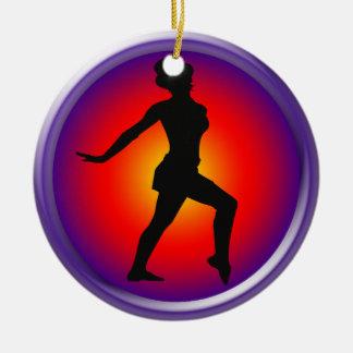 Jazz dancer in pose ceramic ornament