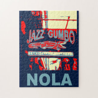 Jazz Fest Abstract  Gator Musical Instraments Jigsaw Puzzle