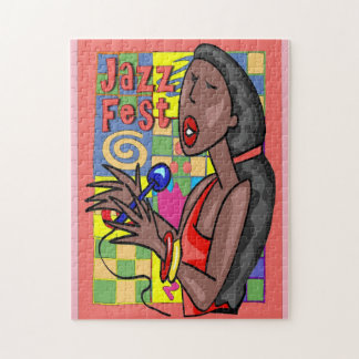 Jazz Fest Abstract Singer Jigsaw Puzzle