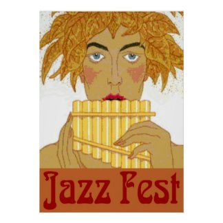 Jazz Fest Pan on Flute Poster