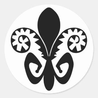 Jazz Fleur de lis (black) Classic Round Sticker