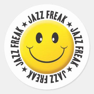 Jazz Freak Smiley Classic Round Sticker