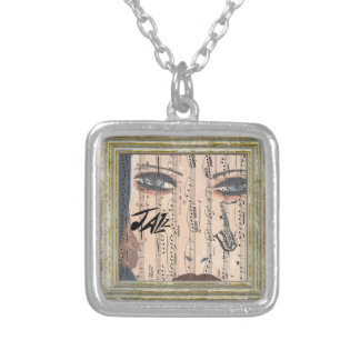 Jazz Lady With Saxophone Silver Plated Necklace