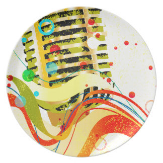 Jazz Microphone Poster Dinner Plates