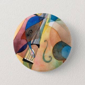 """Jazz Music Painting """"Bassline"""" 2 Inch Round Button"""