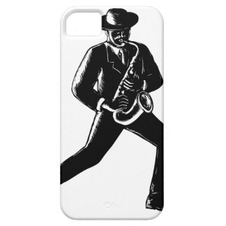 Jazz Musician Playing Sax Woodcut Case For The iPhone 5