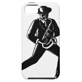 Jazz Musician Playing Sax Woodcut iPhone 5 Cover
