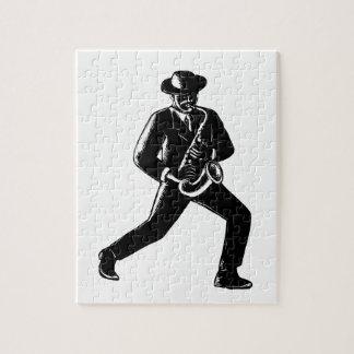 Jazz Musician Playing Sax Woodcut Jigsaw Puzzle