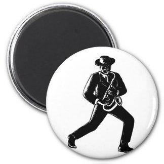 Jazz Musician Playing Sax Woodcut Magnet