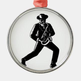Jazz Musician Playing Sax Woodcut Metal Ornament