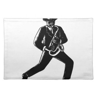 Jazz Musician Playing Sax Woodcut Placemat
