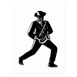 Jazz Musician Playing Sax Woodcut Postcard