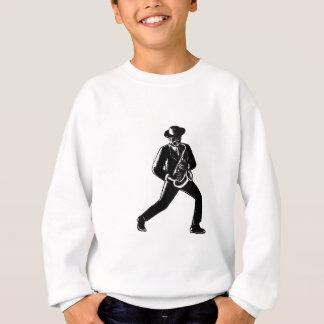 Jazz Musician Playing Sax Woodcut Sweatshirt