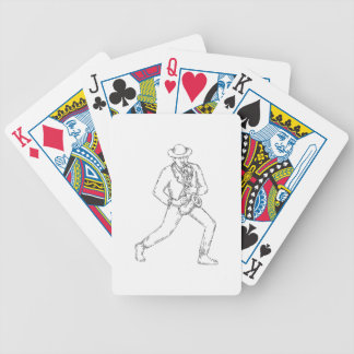 Jazz Musician Playing Saxophone Monoline Bicycle Playing Cards