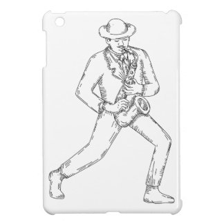 Jazz Musician Playing Saxophone Monoline Case For The iPad Mini