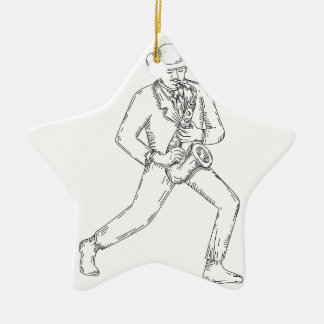 Jazz Musician Playing Saxophone Monoline Ceramic Ornament