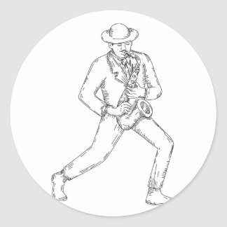 Jazz Musician Playing Saxophone Monoline Classic Round Sticker