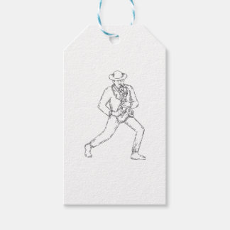 Jazz Musician Playing Saxophone Monoline Gift Tags