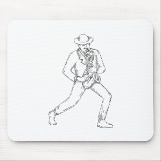 Jazz Musician Playing Saxophone Monoline Mouse Pad