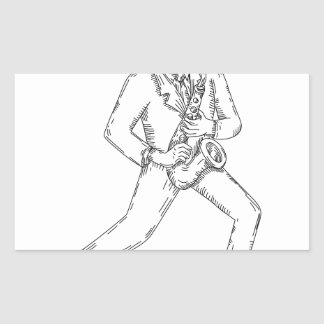 Jazz Musician Playing Saxophone Monoline Sticker