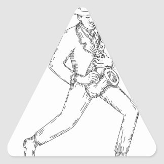 Jazz Musician Playing Saxophone Monoline Triangle Sticker