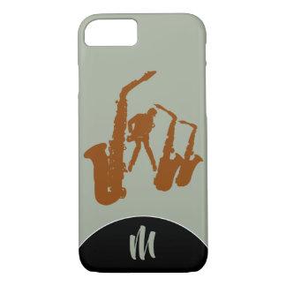 Jazz Sax Brown Saxophonist Monogram Iphone Case
