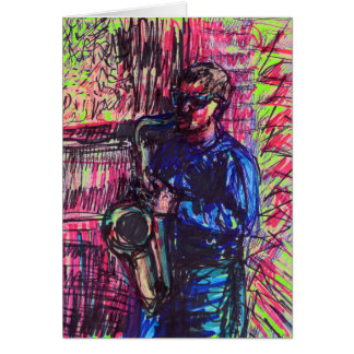 Jazz Sax Musician Card