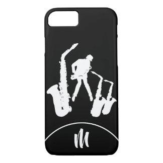 Jazz Sax White Saxophonist Monogram B2 iPhone Case
