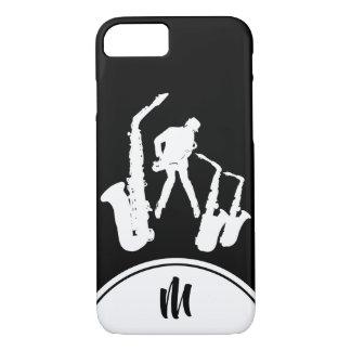 Jazz Sax White Saxophonist Monogram B iPhone Case