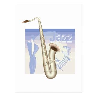 jazz saxaphone design postcard