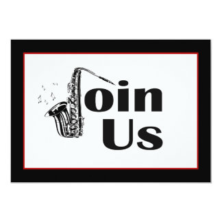 Jazz Saxophone Join Us Party Invitation