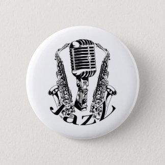 Jazz ~ Saxophone Sax Microphone Music 2 Inch Round Button