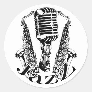 Jazz ~ Saxophone Sax Microphone Music Classic Round Sticker