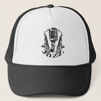 Jazz ~ Saxophone Sax Microphone Music Trucker Hat