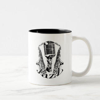 Jazz ~ Saxophone Sax Microphone Music Two-Tone Coffee Mug