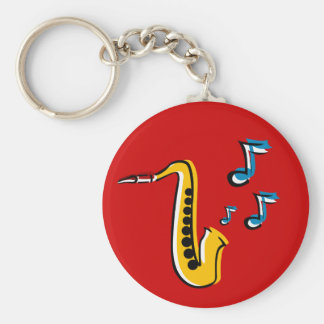 jazz saxophone with notes key chain