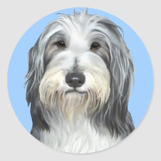 Jazz, the Bearded Collie Round Sticker