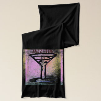 """Jazz-Tini"" Martini and Music Art Scarf"