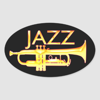 Jazz Trumpet Oval Stickers