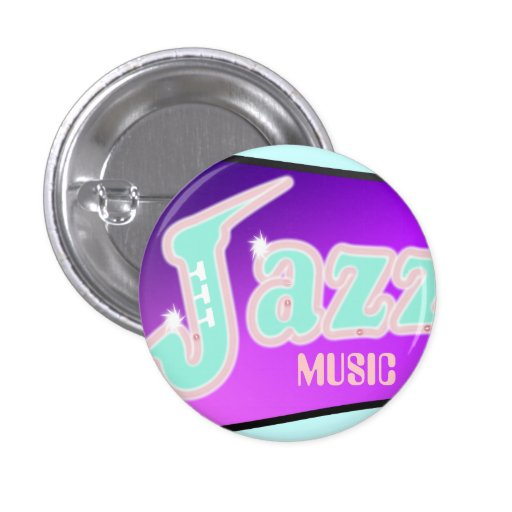 Jazz with Saxophone Pinback Buttons