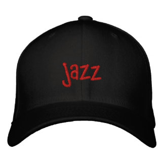 Jazz Word on Black Baseball Hat Embroidered Baseball Caps