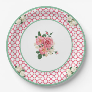 JazzKat's Retro Plates #2D Raspberry White Lattice