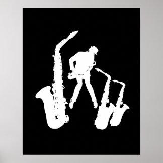 Jazzman White Silhouette Sax Black Poster